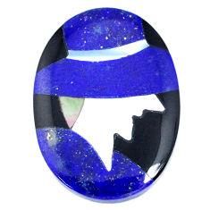 Inlay 14.30cts lapis lazuli blue cabochon 25x18 mm oval loose gemstone s20506