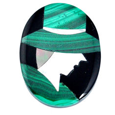 Inlay 21.20cts malachite (pilot's stone) green 27x20 mm loose gemstone s20512