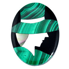 Inlay 26.30cts malachite (pilot's stone) green 30x22 mm loose gemstone s20509
