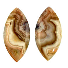 22.35cts mexican laguna lace agate 27.5x12.5mm pair loose gemstone s18876