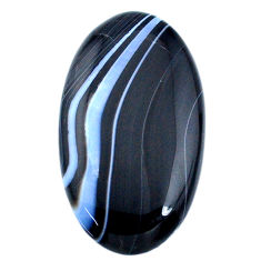 Natural 39.10ct botswana agate black cabochon 36x20mm oval loose gemstone s21087