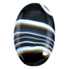 Natural 46.35ct botswana agate black cabochon 39x24mm oval loose gemstone s21092