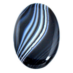 Natural 49.30ct botswana agate black cabochon 41x27mm oval loose gemstone s21097