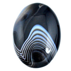 Natural 51.40ct botswana agate black cabochon 37x26mm oval loose gemstone s21096