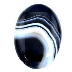 Natural 55.20ct botswana agate black cabochon 36x25mm oval loose gemstone s21094