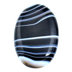 Natural 57.40ct botswana agate black cabochon 38x25mm oval loose gemstone s21098