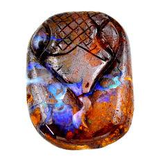 Natural 57.40ct boulder opal carving brown carving 32x24mm loose gemstone s19217