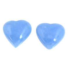 Natural 8.65cts angelite blue cabochon 12x12 mm heart loose gemstone s19790