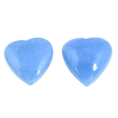 Natural 13.70cts angelite blue cabochon 13.5x13.5 mm heart loose gemstone s19787