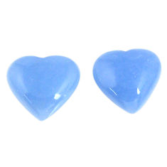 Natural 13.45cts angelite blue cabochon 14.5x13 mm heart loose gemstone s19784