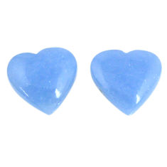 Natural 13.15cts angelite blue cabochon 14x13.5 mm heart loose gemstone s19785