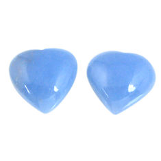 Natural 13.85cts angelite blue cabochon 14x13.5 mm heart loose gemstone s19788
