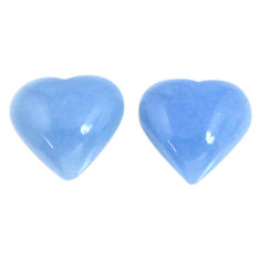 Natural 14.20cts angelite blue cabochon 14x13.5 mm heart loose gemstone s19794