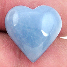 Natural 7.40cts angelite blue cabochon 14x14 mm heart loose gemstone s17282