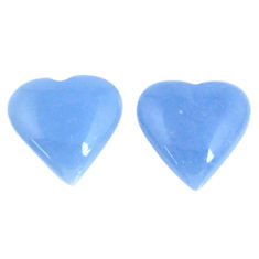 Natural 12.65cts angelite blue cabochon 14x14 mm heart loose gemstone s19795