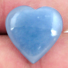 Natural 9.15cts angelite blue cabochon 15.5x15.5 mm heart loose gemstone s17297