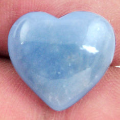 Natural 7.40cts angelite blue cabochon 15x14 mm heart loose gemstone s17286