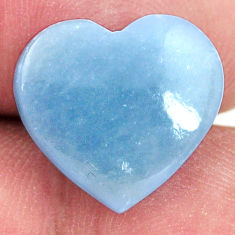 Natural 6.30cts angelite blue cabochon 15x14 mm heart loose gemstone s17307