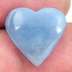 Natural 7.40cts angelite blue cabochon 15x15 mm heart loose gemstone s17292