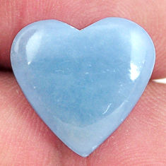 Natural 7.35cts angelite blue cabochon 15x15 mm heart loose gemstone s17303