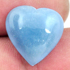 Natural 8.10cts angelite blue cabochon 15x15 mm heart loose gemstone s17306