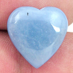 Natural 9.30cts angelite blue cabochon 15x15 mm heart loose gemstone s17318