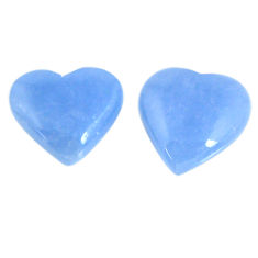 Natural 13.80cts angelite blue cabochon 15x15 mm heart loose gemstone s19783