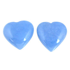 Natural 17.90cts angelite blue cabochon 15x15 mm heart loose gemstone s19786