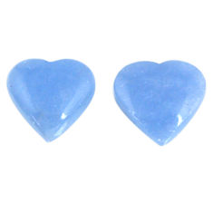 Natural 16.20cts angelite blue cabochon 15x15 mm heart loose gemstone s19793