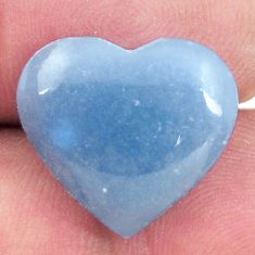 Natural 9.30cts angelite blue cabochon 16.5x15 mm heart loose gemstone s17299