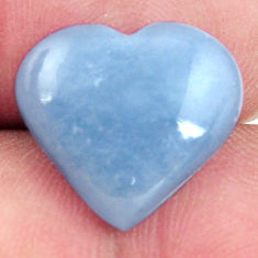 Natural 7.40cts angelite blue cabochon 16x15 mm heart loose gemstone s17295