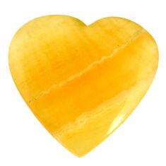 Natural 36.30cts aragonite yellow cabochon 29x29 mm heart loose gemstone s21641