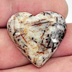 Natural 26.30cts astrophyllite (star leaf) 25x24 mm heart loose gemstone s17101
