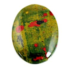 Natural 34.45cts bloodstone african green 31.5x23 mm oval loose gemstone s19414