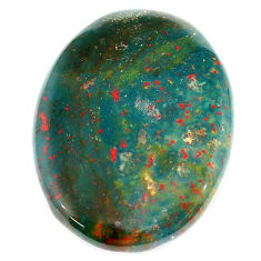 Natural 37.35cts bloodstone african green 32.5x25 mm oval loose gemstone s23029
