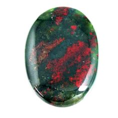 Natural 32.10cts bloodstone african green 32x22 mm oval loose gemstone s19411