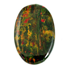 Natural 48.15cts bloodstone african green 40x26 mm oval loose gemstone s19417