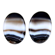 Natural 23.15cts botswana agate brown 23x15 mm oval pair loose gemstone s19112