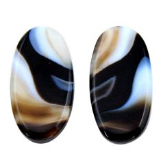 Natural 18.10cts botswana agate brown 25x12.5 mm oval pair loose gemstone s19113