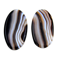 Natural 18.10cts botswana agate brown 26x13.5 mm oval pair loose gemstone s19111