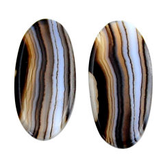 Natural 17.05cts botswana agate brown 27.5x12.5 mm pair loose gemstone s19114