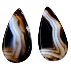 Natural 24.45cts botswana agate brown 29x14 mm pear pair loose gemstone s19108