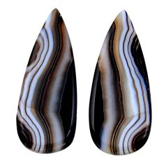 Natural 26.25cts botswana agate brown 36x13 mm pear pair loose gemstone s19109
