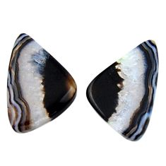 Natural 20.10cts botswana agate cabochon 23.5x15 mm pair loose gemstone s19104