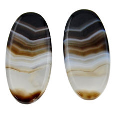 Natural 19.45cts botswana agate cabochon 26x12.5 pair mm loose gemstone s19106