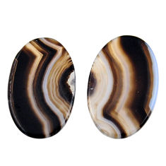 Natural 16.30cts botswana agate cabochon 26x16 mm pair loose gemstone s19102