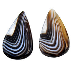 Natural 26.30cts botswana agate cabochon 29x16 mm pair loose gemstone s19105