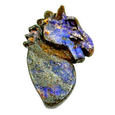 Natural 16.30cts boulder opal brown carving 27x17 mm fancy loose gemstone s22169