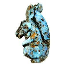 Natural 31.30cts boulder opal brown carving 41x21 mm fancy loose gemstone s22167