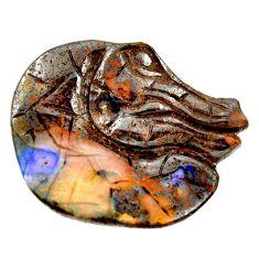 Natural 39.45cts boulder opal carving brown 33.5x27.5 mm loose gemstone s16331